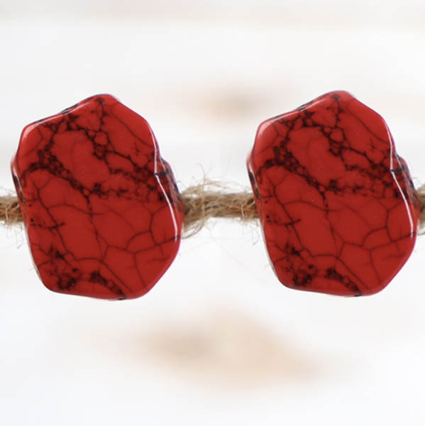 Chunky Red Stone Earrings