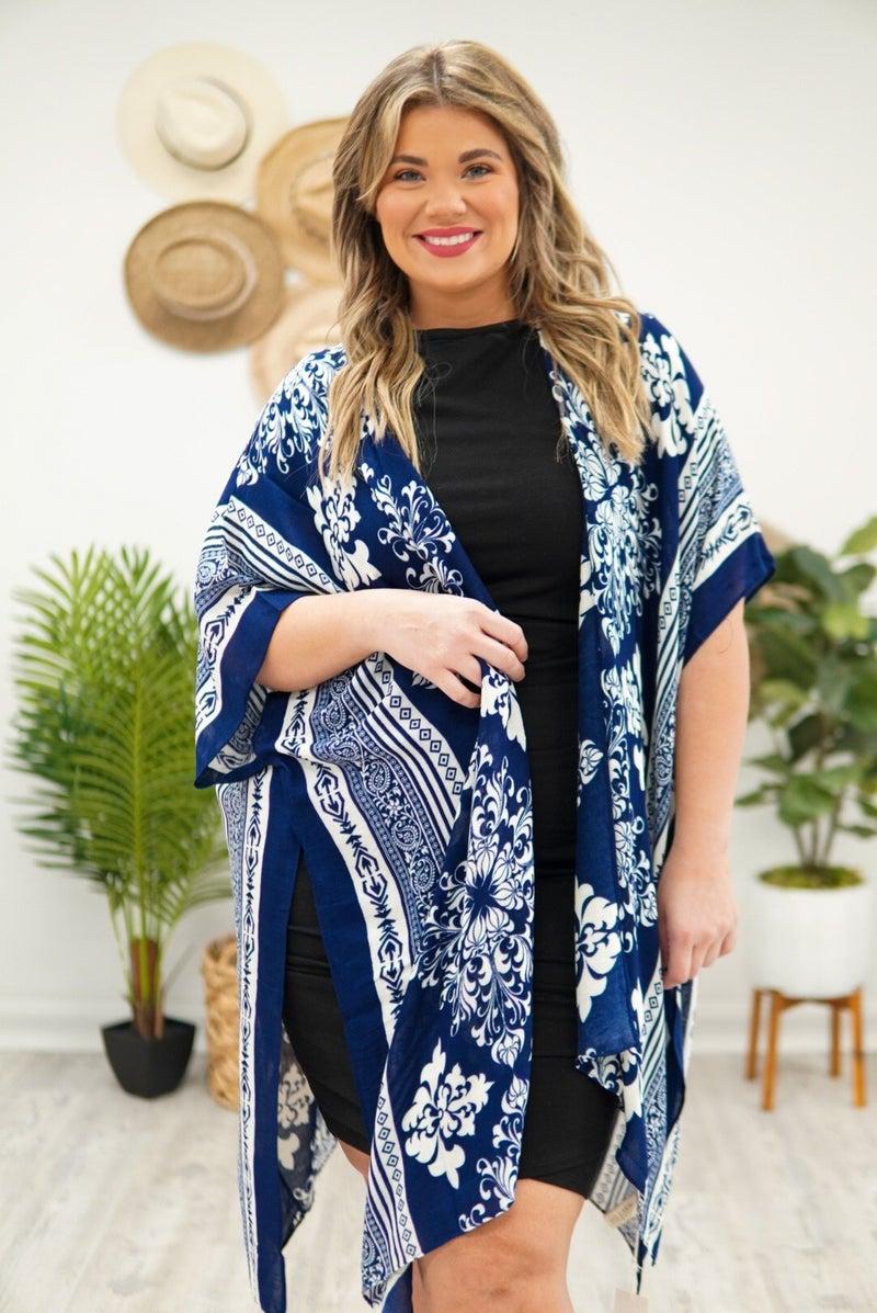 Paisley Print Open-Front Kimono