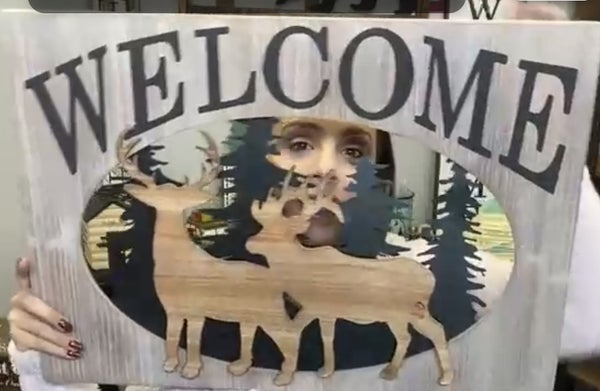 """Welcome"" Wood Laser Outdoor Woods Scene Wall Sign"