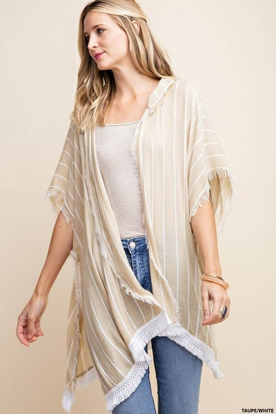 Raw Edge Hooded Stripe Cover with Fringe Detail