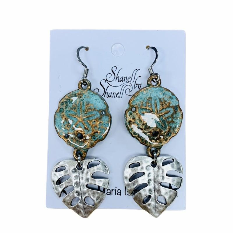 Copper Patina Sand Dollar & Monstera Leaf Earrings