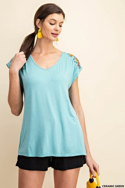 V-Neck Jersey Top with Embroidered Shoulder Detail