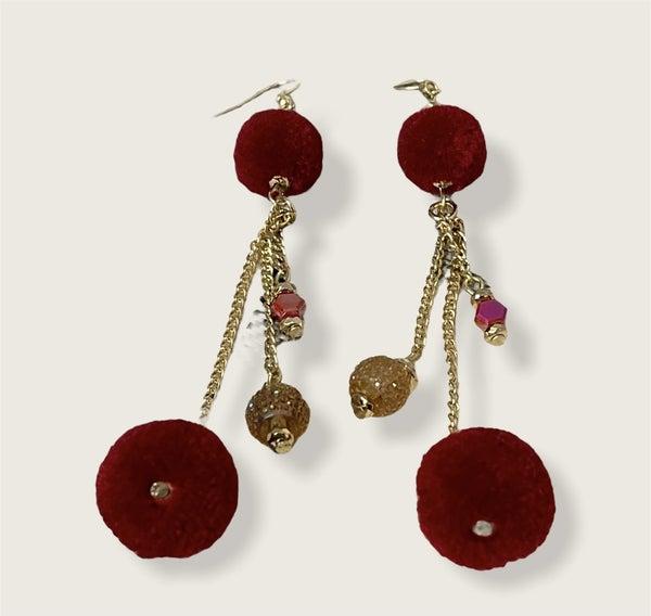 Double Pom Pom Earrings