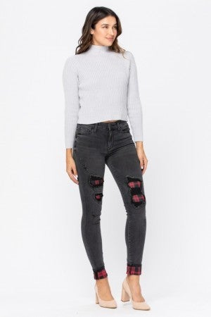 Judy Blue Plaid Patch Black Skinny Jeans