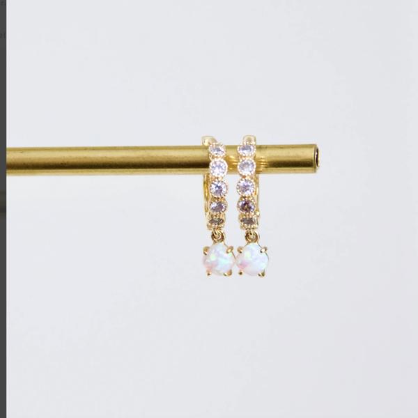 Opal Accent Huggie Earrings