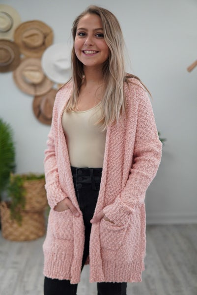 Coral Pocket Cardigan