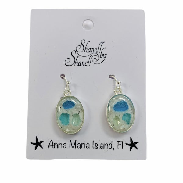 Sea Glass Oval Dangles
