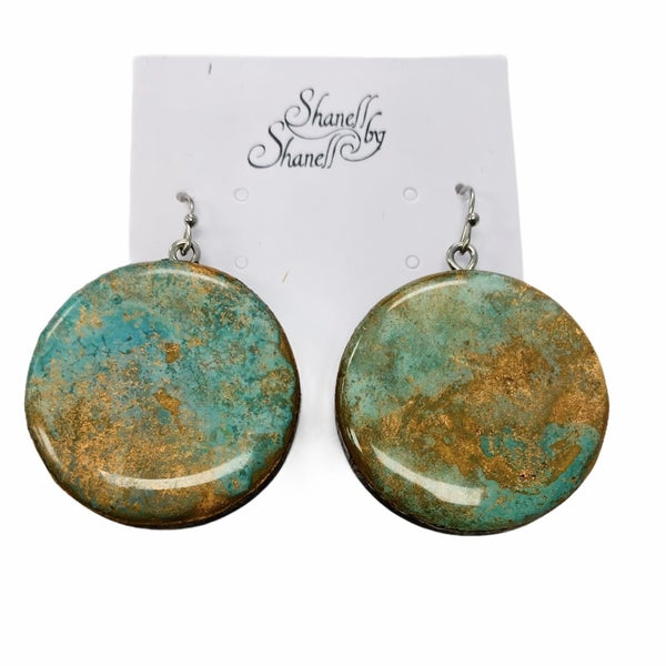 Copper Patina Full Moon Earrings
