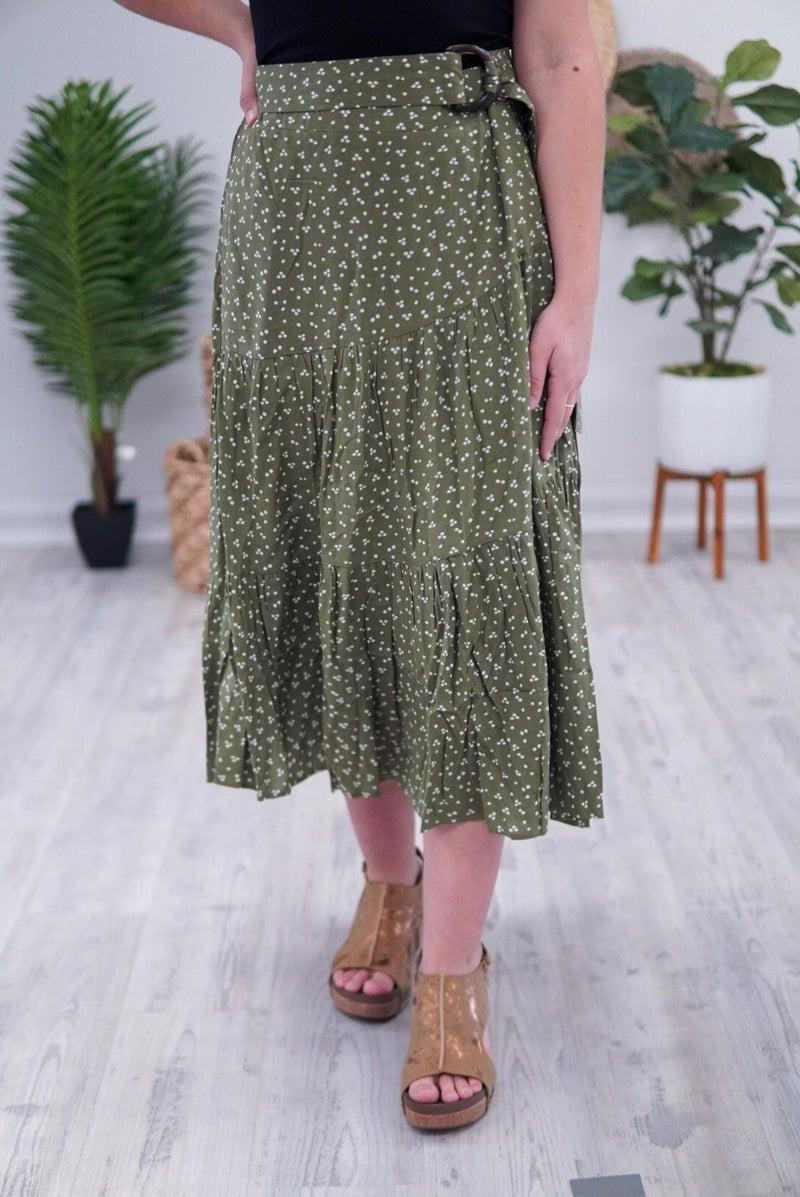 Feelin' Free Olive Midi Skirt