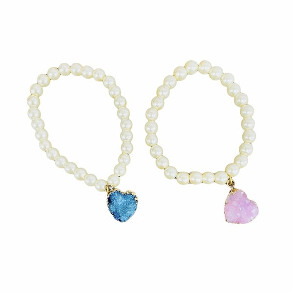 Druzy Heart Pearl Bracelet
