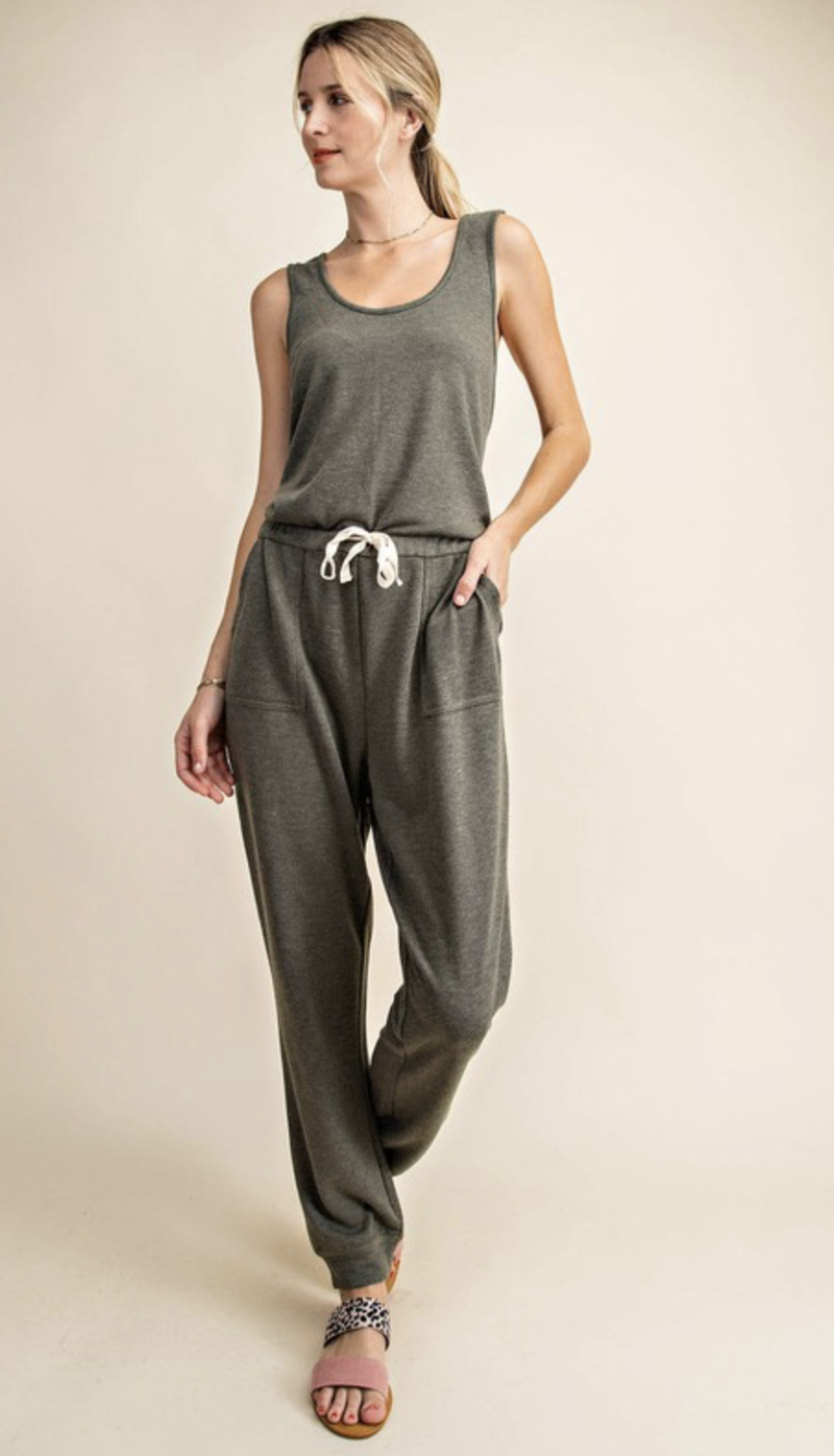 French Terry Criss Cross Jumpsuit