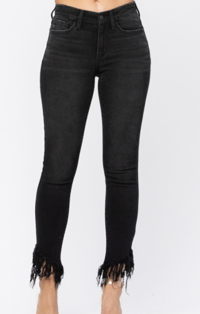 Judy Blue Black Fray Skinny Jeans