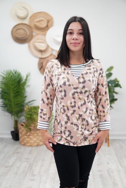 Striped Leopard Print Top