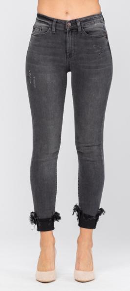 Judy Blue Black Destroyed Hem Cuff Skinny Jeans