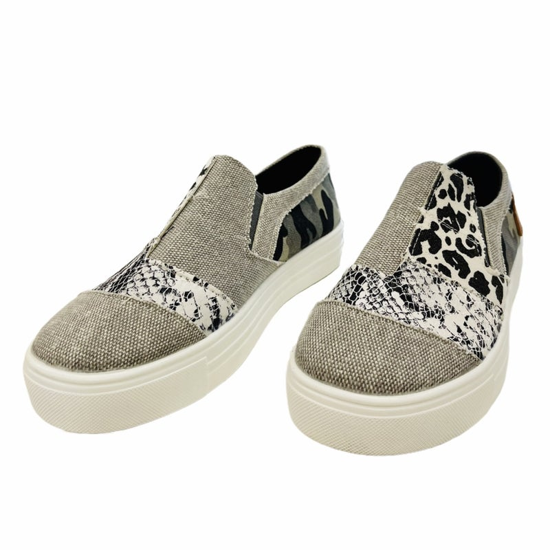 Patchwork Perfection Slip On Sneakers
