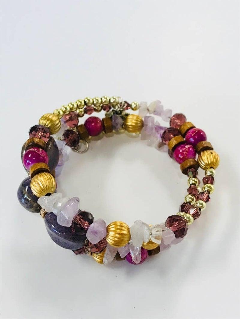 Pretty In Amethyst Stone Wire Bracelet