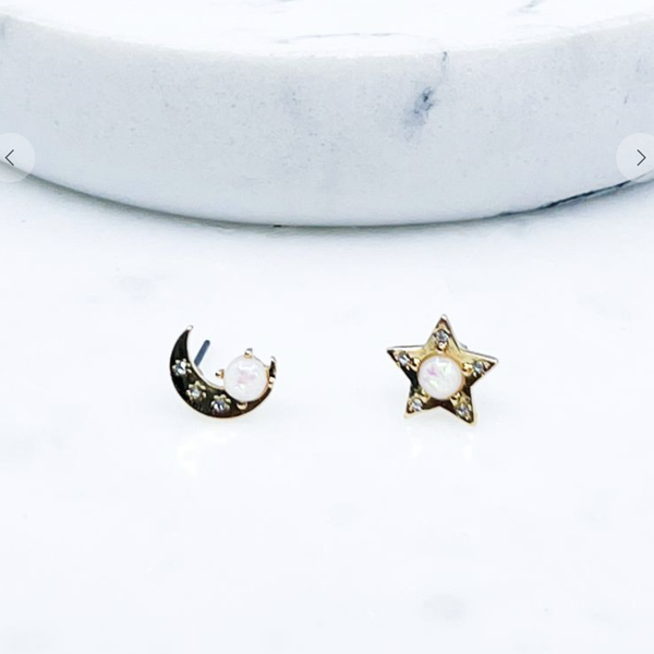 Dainty Star and Moon Post Earrings