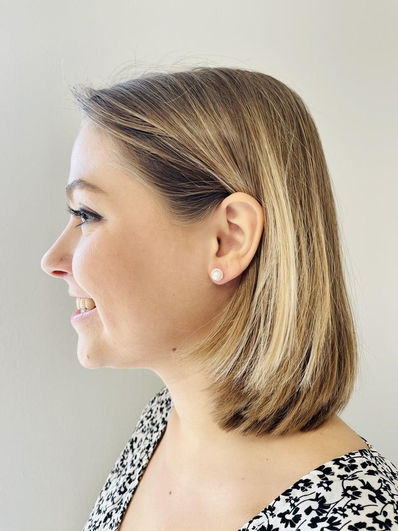 Sparkling Pearl Stud Earrings
