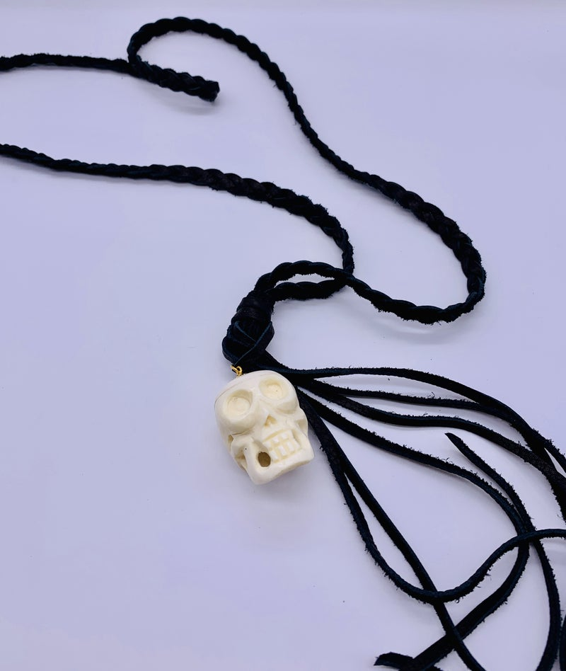 Skull On Leather Necklace
