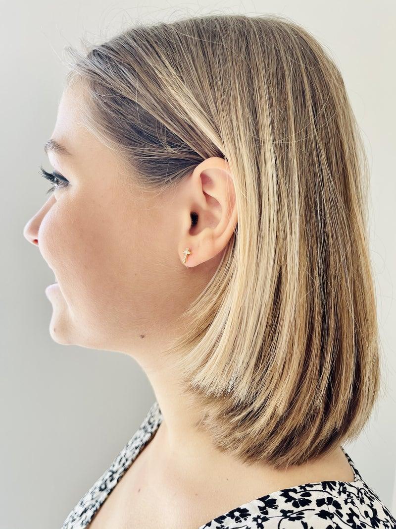 Mini Pave Cross Stud Earrings