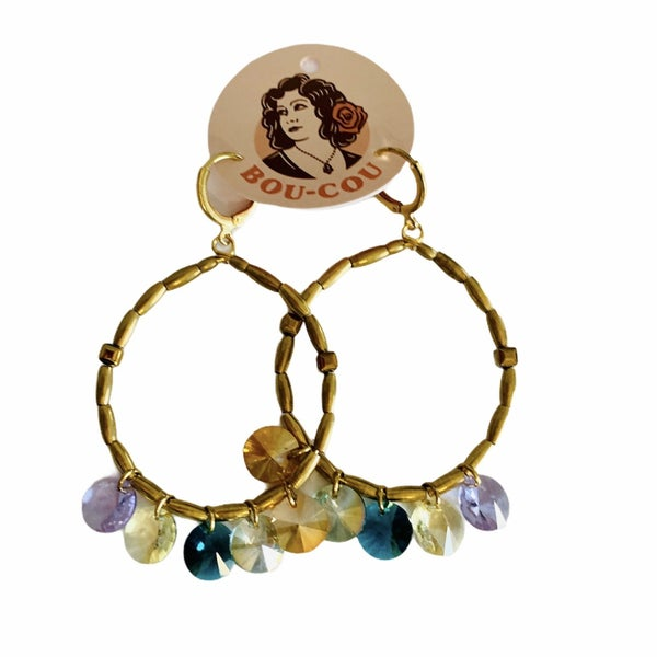 Multi Crystal Discs Earrings
