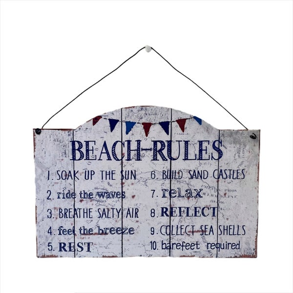 Beach Rules Metal Sign