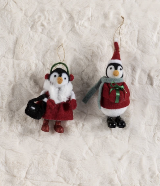 Set of 2 Handcrafted Wool Ornaments