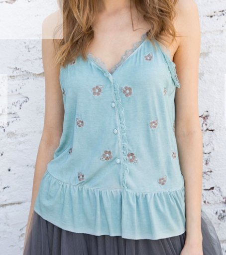 Emerald Peplum Tank with Embroidery *Final Sale*