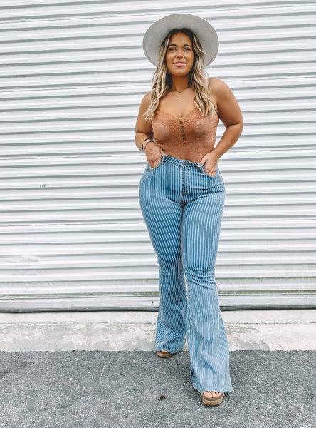 Striped Super Flare Jeans