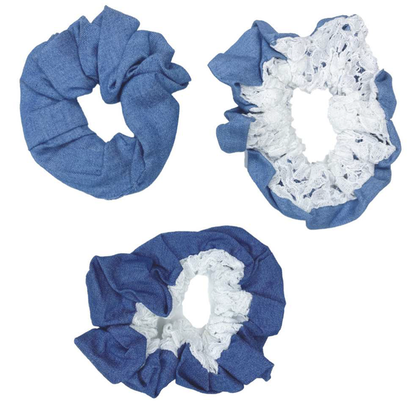 Denim & Lace Scrunchie 3 Pack