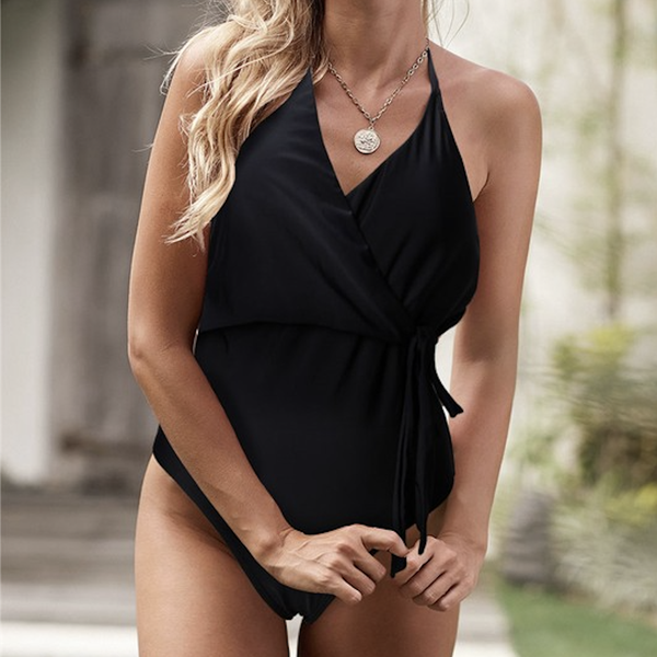 Black At Ya Halter Swim Suit