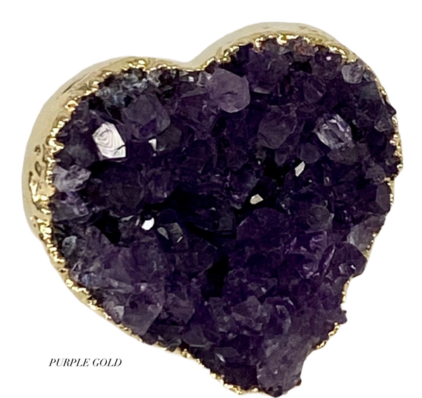 Heart Druzy Ring