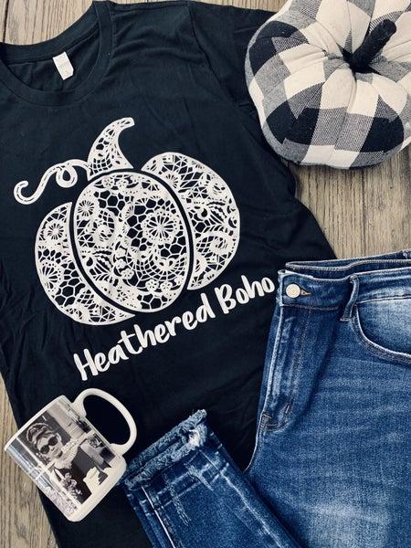 Lacey Pumpkin Custom Heathered Boho Tee