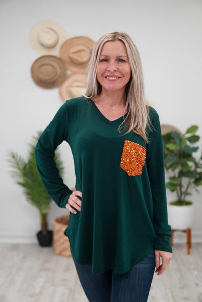 Sparkle Pocket V-Neck Top