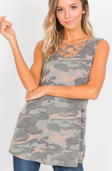 Criss Cross Camo V Neck