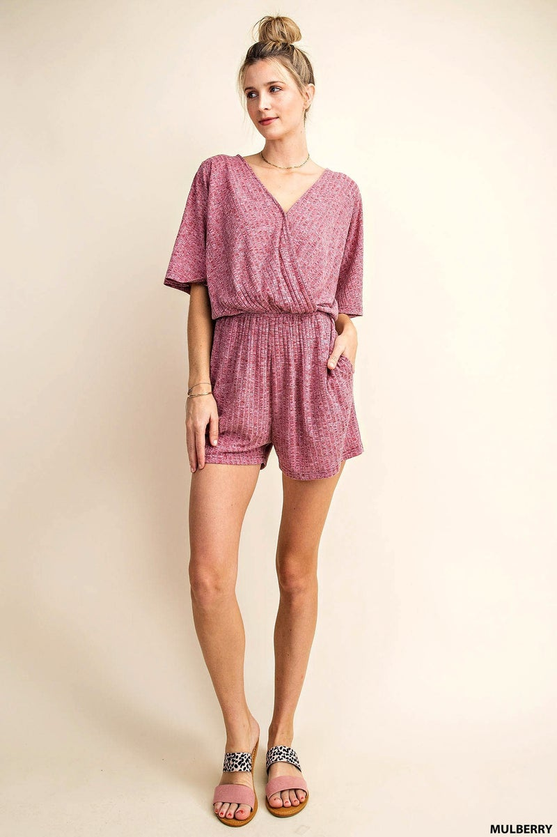 Feminine Ribbed Romper with Tie Back
