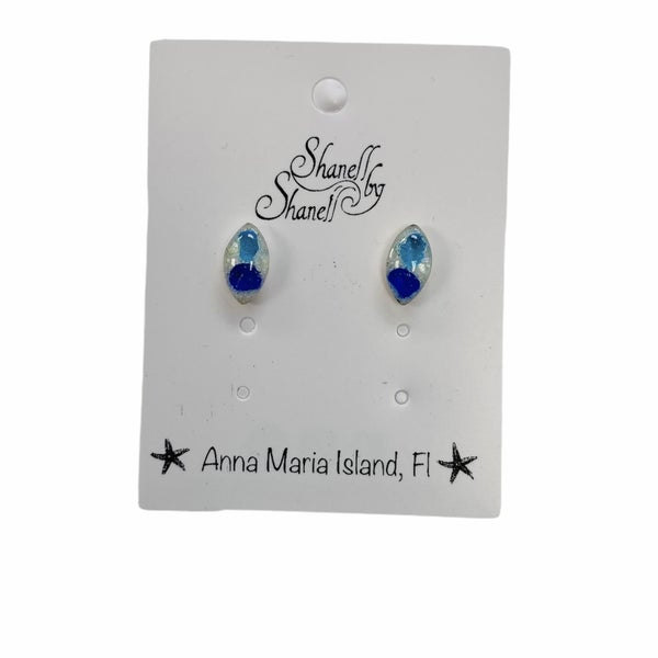 Navette Sea Glass Studs