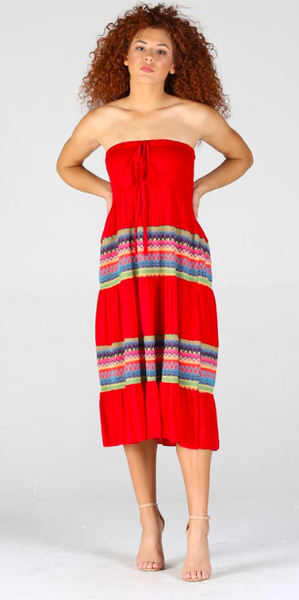 Smocked Bodice Strapless Dress