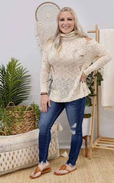 Torn Up Turtleneck Sweater