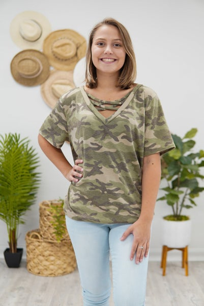 Cross Front Camo Top