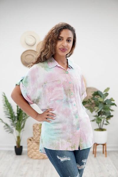 Neon Beach Button Shirt