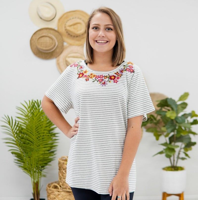 On A Vacation Embroidered Top