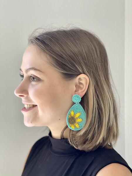 Beaded Sunflower Teardrop Earrings