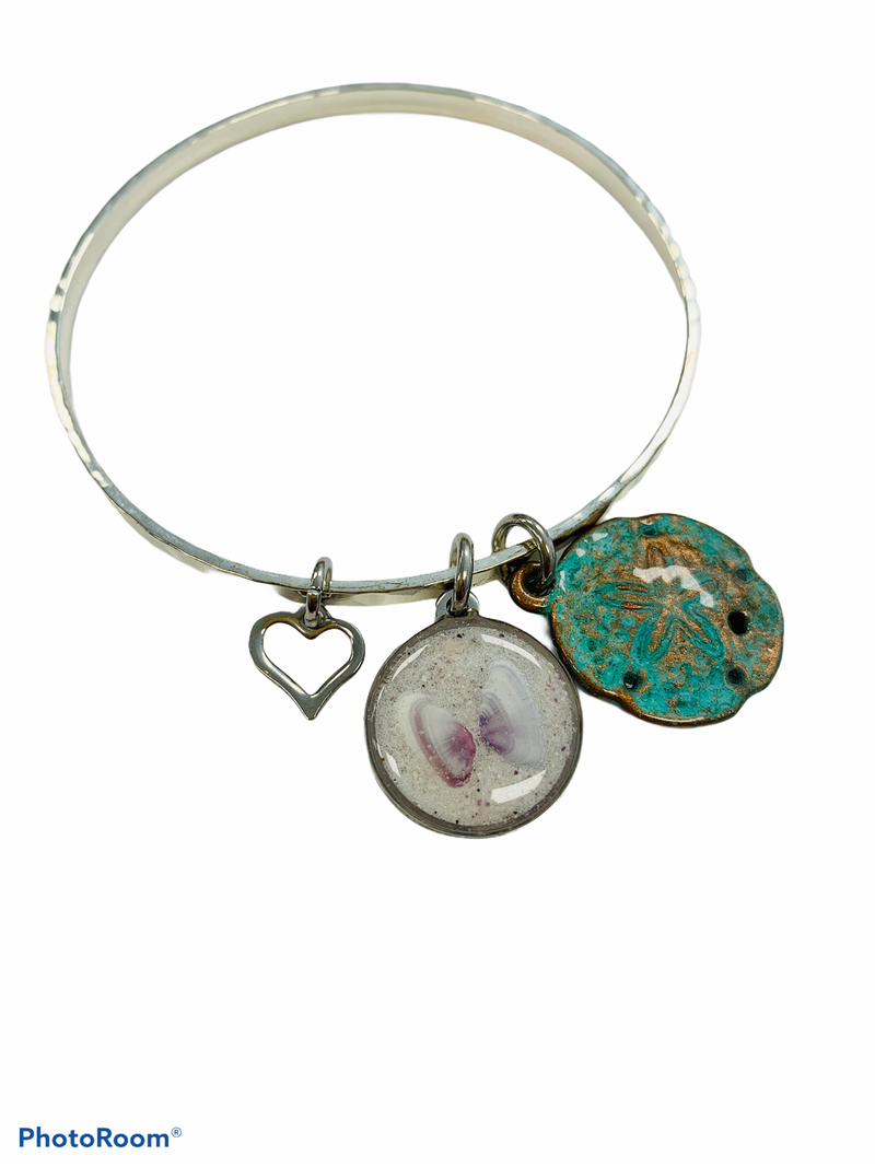 Butterfly Coquina And Copper Patina Sand Dollar Bangle Bracelet