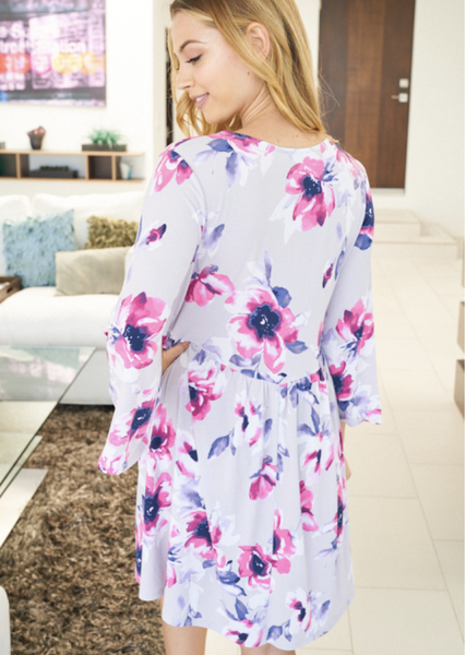 Fuchsia Blooms Bell Sleeve Dress