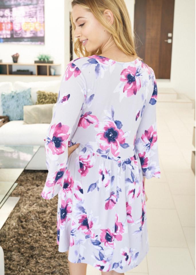 Fuchsia Blooms Bell Sleeve Dress