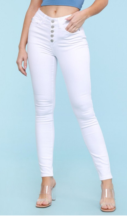 Judy Blue White Button Fly Jeans