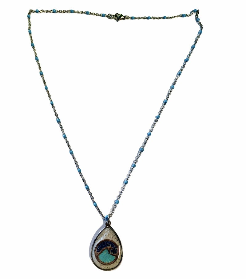 Turquoise And Lapis Lazuli Beach Sand Wave Necklace