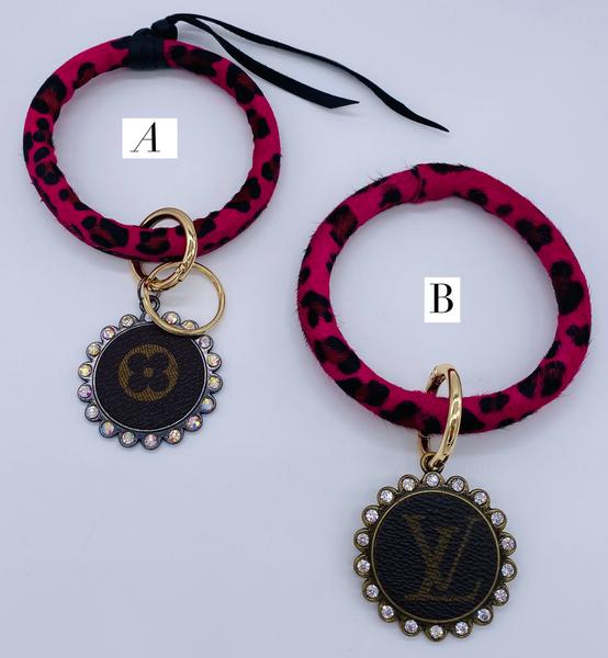 Leopard Print Faux Fur Key Ring