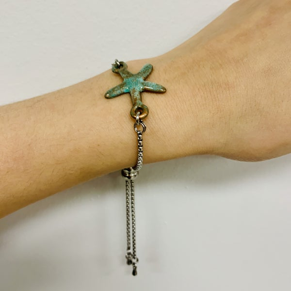 Copper Patina Starfish Slide Bracelet